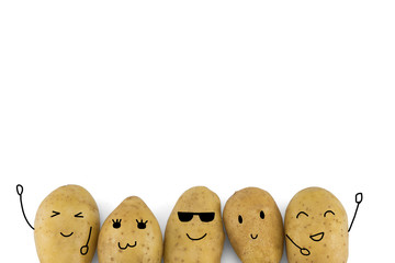 Potatoes cartoon characters isolated on white background with copy space