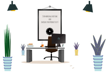 Illustration of modern workplace. Creative office workspace with map. Flat minimalistic style.