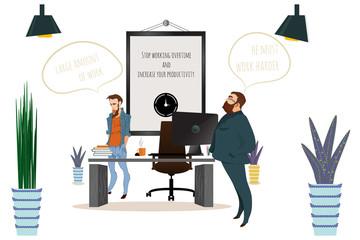 Business cartoon characters scene. Office scene.