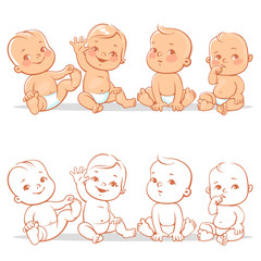 Cute little babies in diaper sitting together. Happy children. Girls and boys smiling waving hands. Vector illustration isolated on white background.