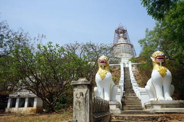 Lions and stupa