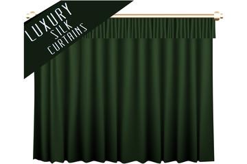 Green Luxury Silk Curtains. Vector Illustration.