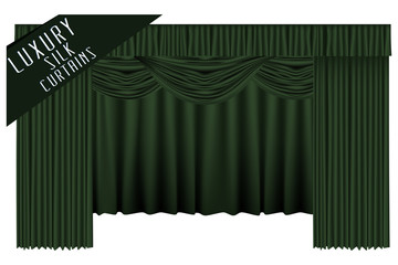 Green open theater curtains. Vector illustration.
