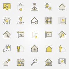 Real estate colorful icons