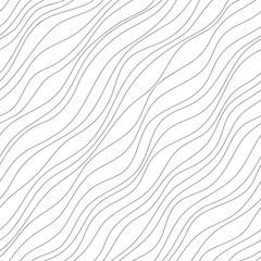 Vector seamless pattern. Abstract background. Irregular diagonal texture. Simple design. Textured slanting lines ornament. Black and white illustration.
