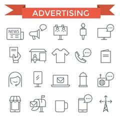 Advertising icons, thin line, flat design