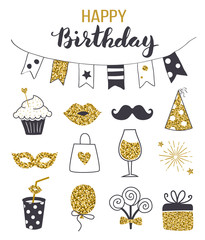 Birthday party icon set, black and gold colors, hand drawn style