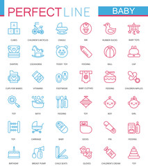 Baby care toys, kid feeding color thin line web icons set.