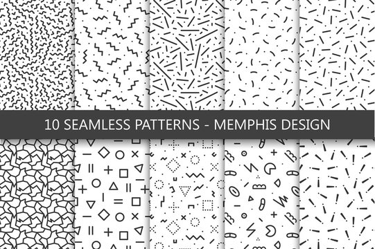 Collection of swatches memphis patterns - seamless. Fashion 80-90s.
