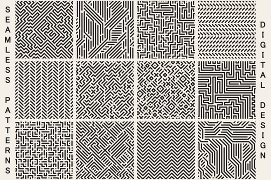 Collection of striped seamless geometric patterns.