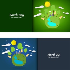 Earth day concept. with Green Eco Earth and Trees, Mountain, river. Vector illustration.