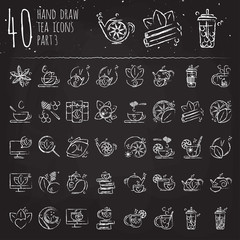 Tea hand draw icon set - cup, bag, kettle with spices and lemons, drawned with brushes