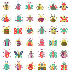 Color flat insects icons set. Simple flat Butterfly, bugs collection.