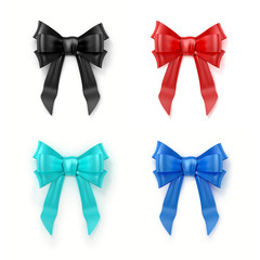 3D illustration of set of colorful bows