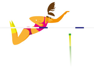 female athlete performs attempt the pole vault