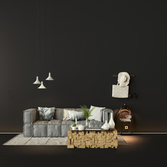 sofa in front of a black wall - sofa vor dunkler wand