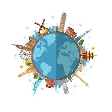 Around the world. flat illustration