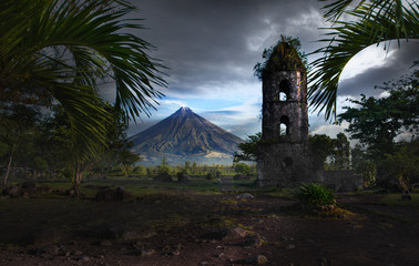 Mayon volcano,Cagsawa church view,Philippines