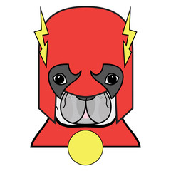 Superhero symbol  as  a French bulldog  character in red, white and yellow