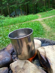 Metal cup on fire