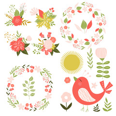 Set with bird, flowers and wreaths. Han drawn illustration. Vector.