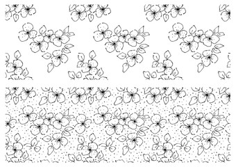 Vector set of floral illustration. Black and white seamless patterns with bouquet with flowers, leaves, decorative elements. Hand drawn contour lines and strokes. Doodle style, graphic illustration