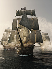 Acrylic Prints Front view of a pirate ship fleet piercing through the fog. 3d rendering