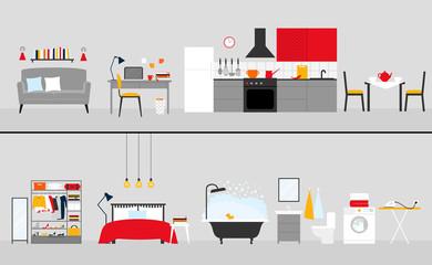 Vector set of furniture of living room, workplace, kitchen, wardrobe, bedroom, bathroom, laundry