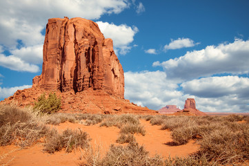 Navajo Tribal Park, Utah, USA. The natural Structures in Monument Valley were created by timeless erosion.