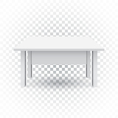 Vector 3d table for object presentation. Empty white top table on isolated background.