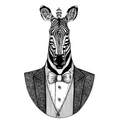 Zebra Horse Hipster animal Hand drawn image for tattoo, emblem, badge, logo, patch, t-shirt