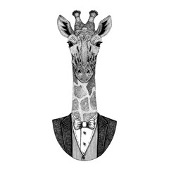Camelopard, giraffe Hipster animal Hand drawn image for tattoo, emblem, badge, logo, patch