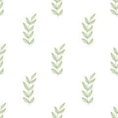 Green herbs seamless pattern. Scandinavian background. Wallpaper design.