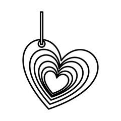 silhouette multiple love heart figure hanging for decoration vector illustration