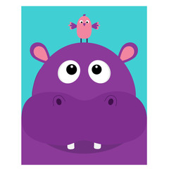 Hippopotamus head facelooking up to bird. Cute cartoon character hippo with tooth. Violet behemoth river-horse icon. Baby animal collection. Education card for kids. Flat design. Blue background.