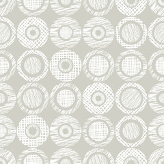 Seamless vector geometrical pattern with circles, endless background with hand drawn textured geometric figures. Pastel Graphic illustration Template for wrapping, web backgrounds