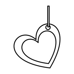 silhouette double love heart figure hanging for decoration vector illustration