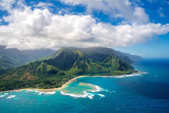 Aerial View on Napali Coast on Kauai island on Hawaii from helicopter
