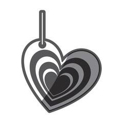 monochrome silhouette multiple love heart figure hanging for decoration vector illustration