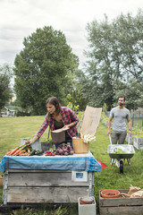 Mid adult woman arranging garden vegetables on table with man in background