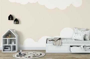 mock up wall in child room interior. Interior scandinavian style. 3d rendering, 3d illustration