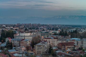 Panorama view on Kutaisi city, Georgia at the evening. Low light image.