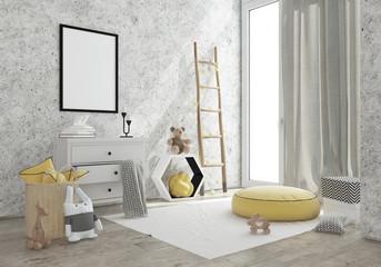 kids game room interior image. 3D Rendering
