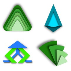 Collection of Green and Blue Triangular Modern Logo Concepts