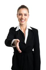 junge Geschäftsfrau mit Handschlag Geste isoliert vor Weiß
