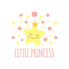 Cute star in crown print vector. Little princess background. Design for girls poster, illustration, fashion patches stickers, t-shirt apparel clothing or children fabric.