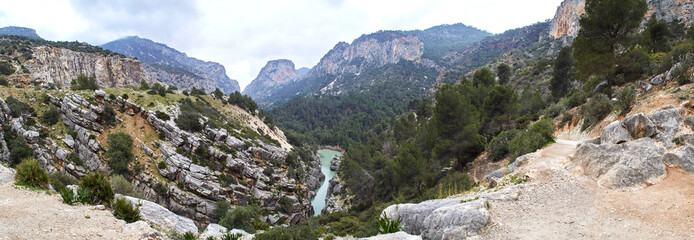 Fototapete - Caminito del Rey and Valle del Hoyo, Desfiladero de los Gaitanes, Panorama
