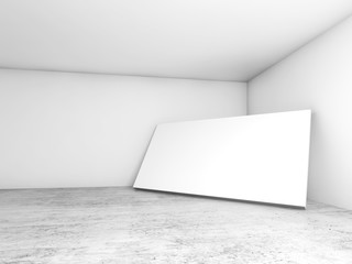 White blank banner stands in the corner 3d