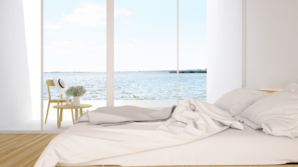 Bedroom and terrace lake view in hotel or condominium - 3d Rendering