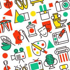 Set of outline art icons in flat design symbols vector illustration seamless pattern